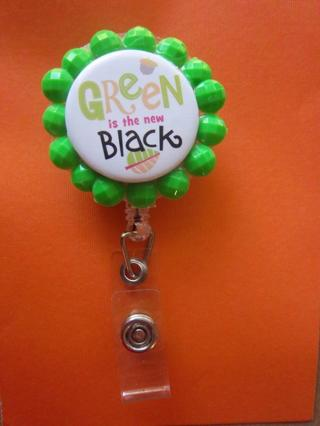 NEW - Green is the new Black ( Recycling Theme) ~ Retractable ID Badge Holder