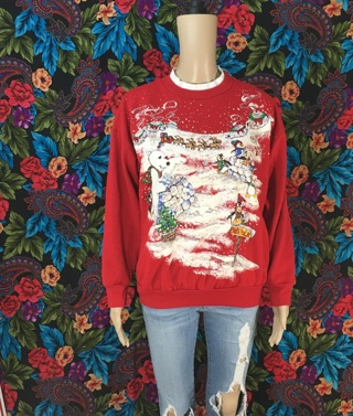 GLITTERY RED NORTH POLE XMAS SWEATER PULLOVER SZ S