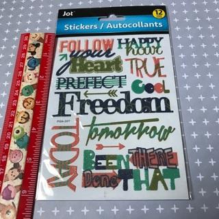 Glitter Word Scrapbook Sticker Sheet NEW