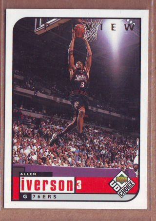 1998 Upper Deck Allen Iverson Choice Preview Basketball Card # 105 Philadelphia 76ers
