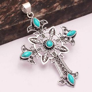 PRETTY TURQUOISE CROSS GEMSTONE SILVER PLATED PENDANT