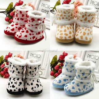 Baby Kids Infant Boys Girls Winter Warm Snow Boots Toddler Fur Crib Shoes 0-18M