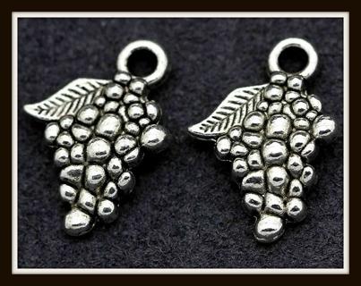 2 (TWO) pc Set! GRAPE CLUSTER BUNCH Tibetan Silver Charms Pendants, 13mm x 12mm, Brand NEW!