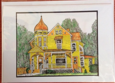 """YELLOW VICTORIAN - 5 x 7"""" art card by artist Nina Struthers - GIN ONLY"""