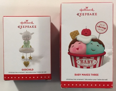 2 Hallmark Keepsake Ornaments: Godchild and Baby Makes Three - Brand New!