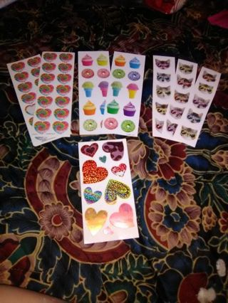 Cute sticker lot kitties, cupcakes, hearts