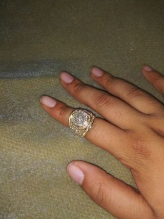 Ross Simons gold over sterling silver cz ring size 7
