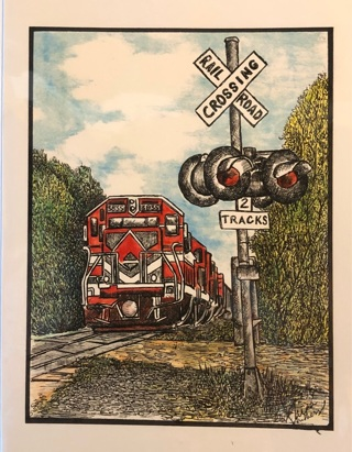 """Red train at crossing - 5 x 7"""" Art Card by artist Nina Struthers - GIN ONLY"""