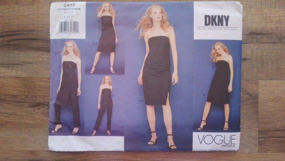 Vogue DKNY Pattern 2417 Size 8-10-12 Uncut
