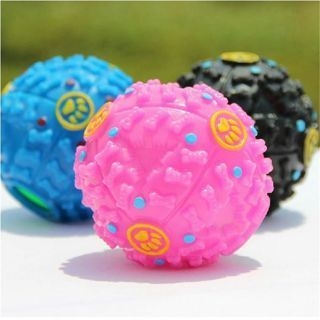 3PCs Funny Squeaky Molar Leakage Food Ball Pet Dog Cat Sound Toy