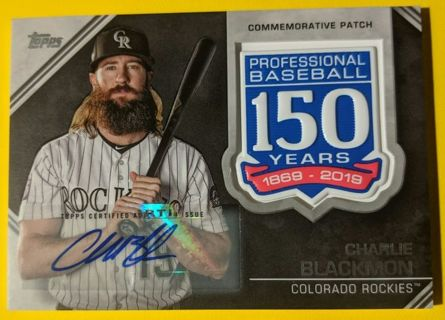 CHARLIE BLACKMON SCARCE SIGNED DUAL RELIC CARD * SEQUENTIALLY NUMBERED 08 OF ONLY 10 MADE