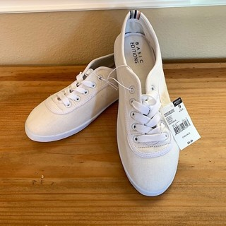 Brand New Women's White Canvas Tennis Shoes Sneakers - Size 9