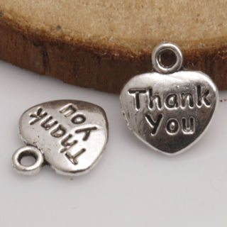 40PCs THANK YOU Tibetan Silver Charms Pendants Jewelry Finding Fit Nacklace