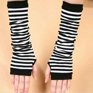 Sexy Women Knit Long Arm Warmers Sleeves Winter Fingerless Gloves Striped Gloves