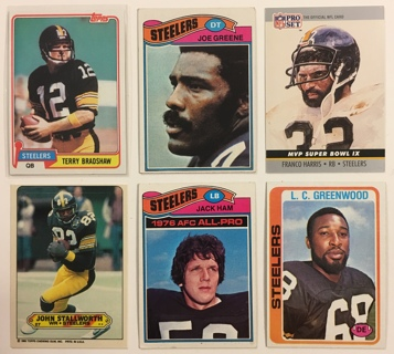 Pittsburgh Steelers 1970s and 1980s Topps Football Cards Lot of 10
