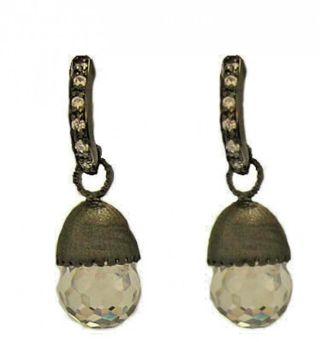 Half hoop earrings drop cubic zirconia cz gunmetal crystal cut bead CZ NWT