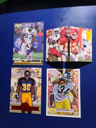 Four different football cards. Smoke free.