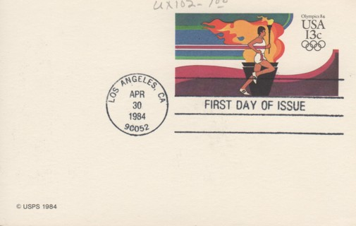 USA #UX102  1984 Olympics torch bearer FDC postal card