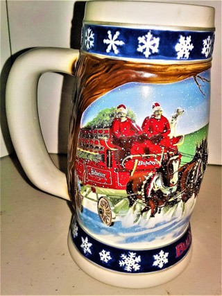 """1995 """"Lighting the Way Home"""" heavy (25 oz.) ceramic Budweiser holiday stein handcrafted in Brazil"""