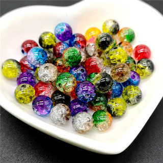 [GIN FOR FREE SHIPPING] 50Pcs 8mm Double Colored Cracked Spacer Beads