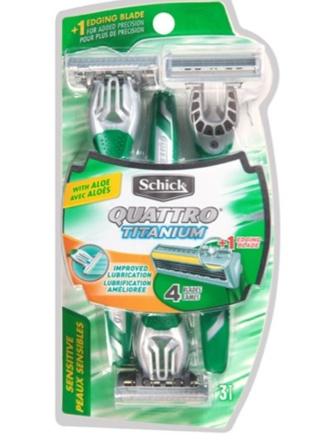 New! Schick Quattro Titanium Razors! For Sensitive Skin With Aloe! 3 Pack
