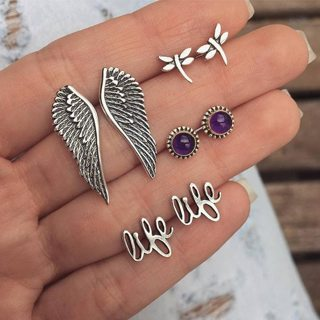 4 Pair/set Women's Fashion Temperament Wings Love Gem Animal Silver Earrings Set Banquet Wedding