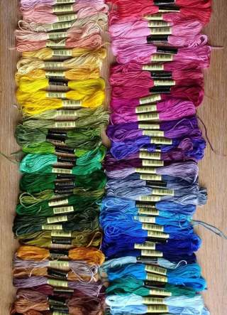 1 yellow embroidery thread