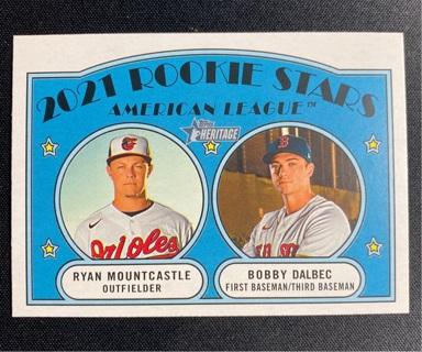 2021 Topps Heritage Rookie Stars Ryan Mountcastle Bobby Dalbec RC Card #185