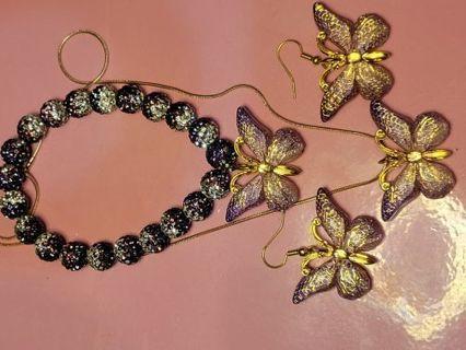 BEAUTIFUL PURPLE/GOLD BUTTERFLY JEWELRY SET