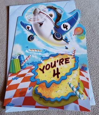 Childs 4th Birthday Airplane Greeting Card