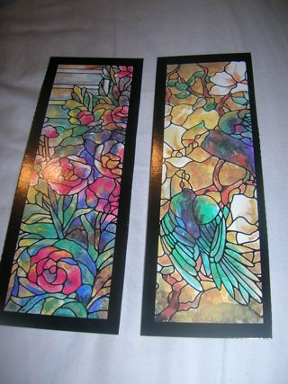 2 Tiffany look Book marks with parrots and roses