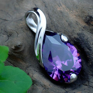 Women fashion Purple Amethyst Crystal Teardrop Pendant For Necklace Gift Jewelry