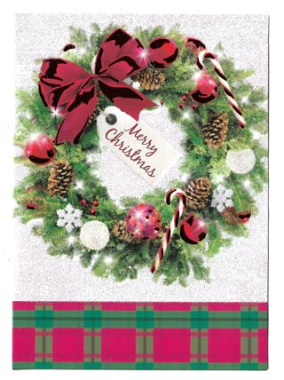 Christmas Card Unused With Envelope Wreath