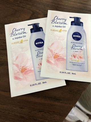 Brand new nivea cherry blossom lotion sample lot of 2