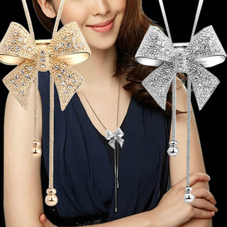 2017 Hot Fashion Noble Alloy Rhinestone Bow Necklace Long Sweater Chain Pendant Necklace