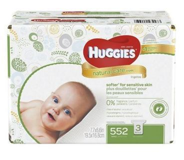 NEW HUGGIES Natural Care Baby Wipes, Unscented , Pack of 3 Refill Packs (552 Sheets Total)