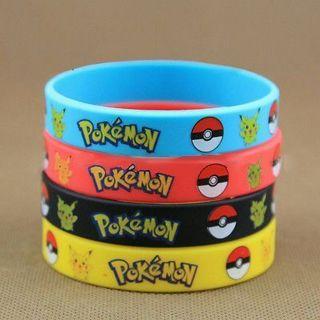 4pcs Pokemon Go Pikach Rubber Bracelets Wristband Birthday Party Favors