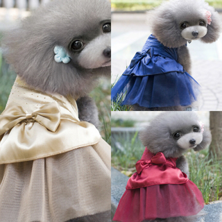 [GIN FOR FREE SHIPPING] Pet Dog Cat Puppy Tutu Dress Sequin Clothes Party Apparel Bow Skirt