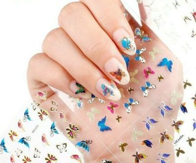 3 Sheets (random) 3D Nail Art Sticker Gold Multi Color Butterfly Decals Manicure