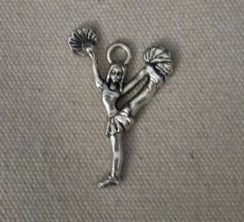 Two-sided silver tone 1 inch New cheerleader charmus .Get it now and get earrings hooks and o rings.