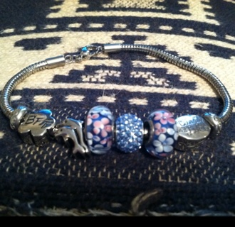 Free Hallmark Charm Bracelet Like Pandora With Beads And Stoppers Ship