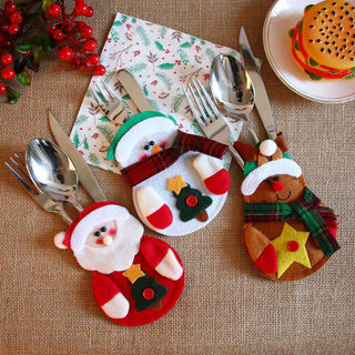 [GIN FOR FREE SHIPPING] 3PCs Christmas Table Forks Bag Pouch Pocket Tableware Cover Decor