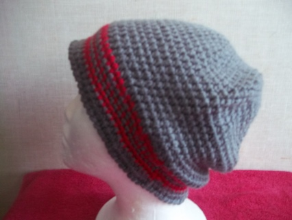 Hand Crocheted Gray and Red Slouch Hat