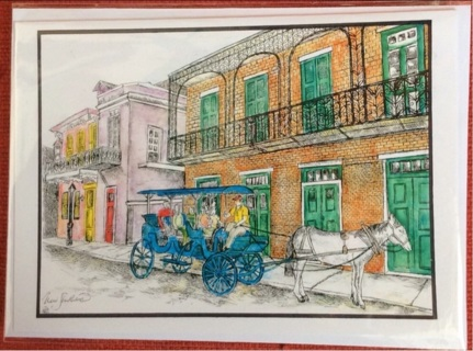 "FRENCH QUARTER NOLA - 5 x 7"" art card by artist Nina Struthers - GIN ONLY"