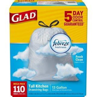 ✔ Glad OdorShield Tall Kitchen Drawstring Trash Bags - Febreze Fresh Clean - 13 Gallon - 110 Count ✔