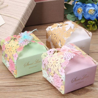 10PCs Rose Hollow Candy Boxes Wedding Birthday Party Decor Favours Ribbon