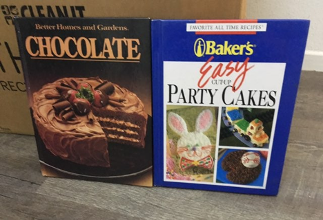 2 vintage cook books bakers & chocolate