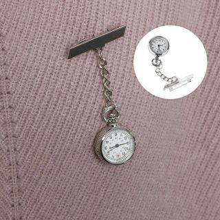 Hanging Chain Nurse Pocket Watch White Dial Brooch Silver Steel