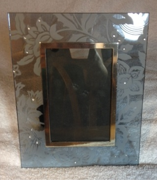 Floral Etched Glass Frame Embellished With Crystals - GORGEOUS!!