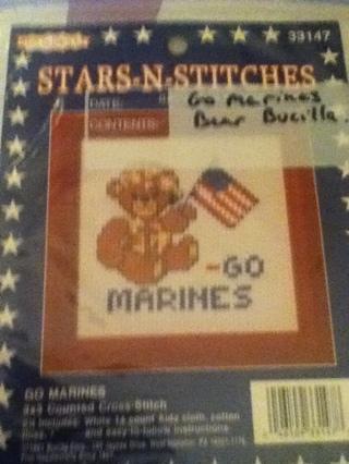"Stars-N-stitches Bucilla ""Go Marines"" counted cross stitch"